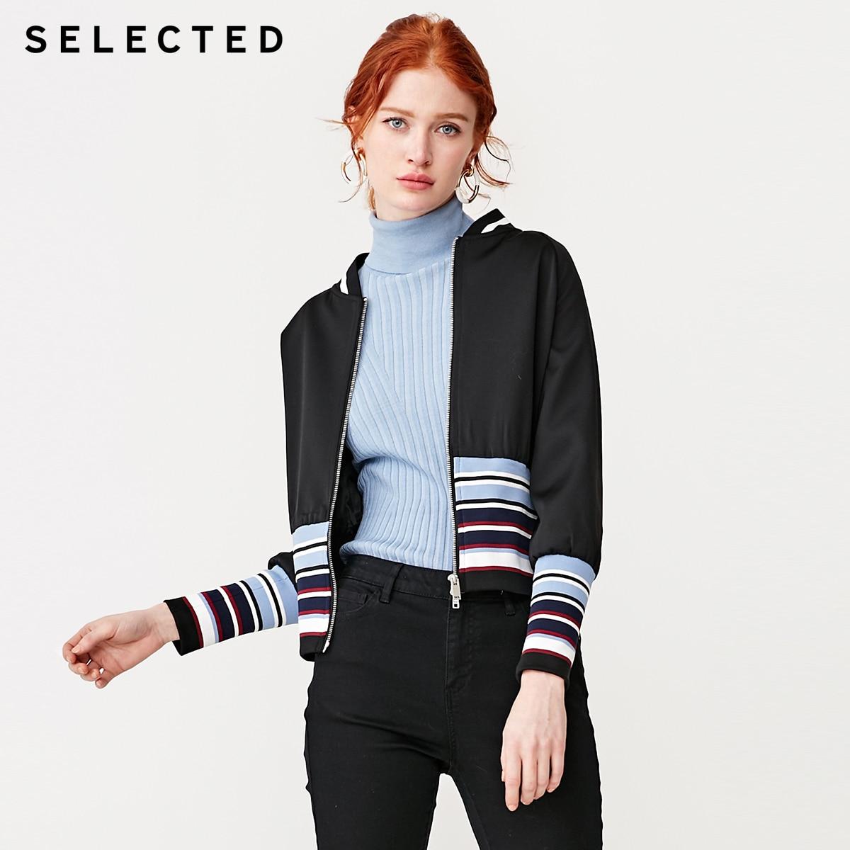 SELECTED Women s Stripe Splice Baseball Collar Jacket S 419121509