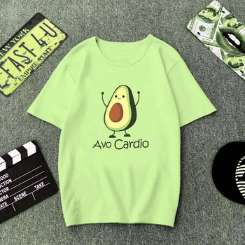 Green T Shirt Women Cartoon Avocado Print Graphic Vegan Tshirt Cute Casual Basic T-Shirt Summer 2019 Funny Shirt Top Female 1
