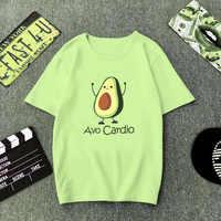 Grün T Hemd Frauen Cartoon Avocado Drucken Grafik Vegan T-shirt Nette Beiläufige Grundlegende T-Shirt Sommer 2019 Lustige Shirt Top Weibliche