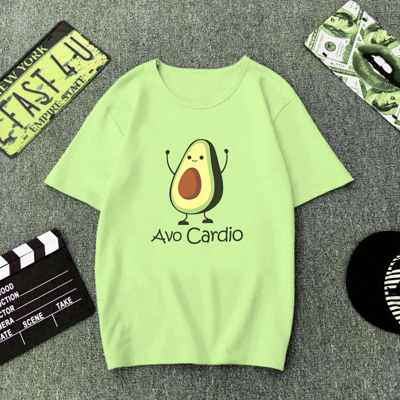 Green T Shirt Women Cartoon Avocado Print Graphic Vegan Tshirt Cute Casual Basic T-Shirt Summer 2019 Funny Shirt Top Female