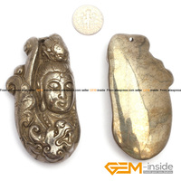 Pyrite Pendant 32x70 Mm Guanyin Buddha Carved Gray Pyrite Beads Natural Pyrite Stone Beads For Pendant
