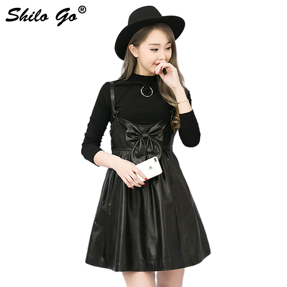 Leather Overalls English Womens Autumn Fashion sheepskin genuine leather Dress spaghetti strap Leather bowknot dress
