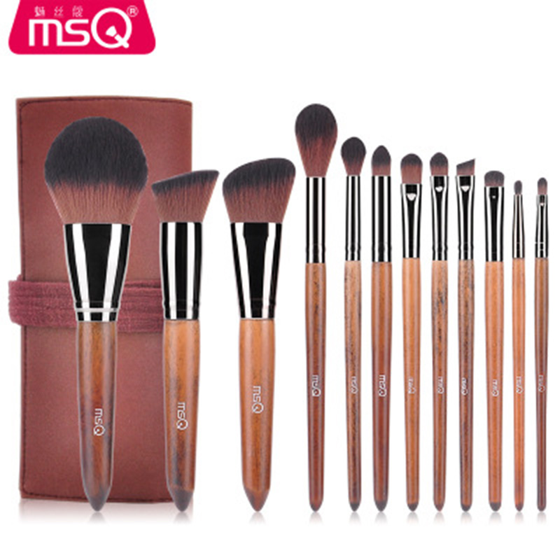 MSQ 12PCS Makeup Brush Professional Set Makeup Tools Accessories Foundation Eyeshadow Cosmetics Powder Brush With Leather Case