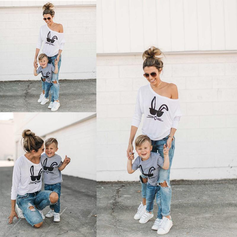 Parent-Kids Sweatshirt Fashion Women Boys Girl Rabbit Printed T-shirt Children Clothing Mom Son Daughter Family Matching Outfits