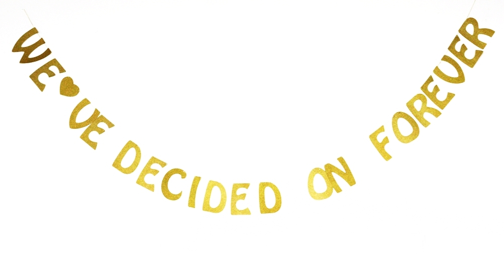 Weve Decided On Forever Gold Glitter Wedding Banner Bridal Shower Banner Engagement Parties Sign Photo Prop Photo Booth