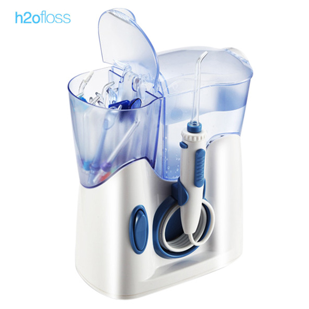 где купить H2ofloss Hf - 8 Electric Oral Irrigator Teeth Waterflosser Dental Shower Cleaning Machine Low Noise Design Water Jet Toothbrush дешево