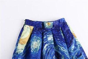 Image 4 - נשים חצאיות מקסי שמי זרועי הכוכבים ואן גוך ציור שמן 3D הדפסה דיגיטלית חצאית טוטו רוקבילי רטרו גבוה מותן חצאית עלים SP003