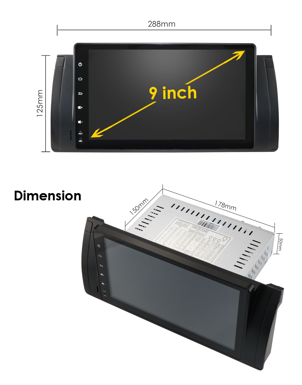 1din android 9.0 carro autoaudio player para