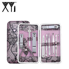 XYj Manicure Gereedschap Pedicure Set Nagelknipper 12 stks/set Rvs Nail Art Kit Professionele Grooming Kit met PU Case(China)