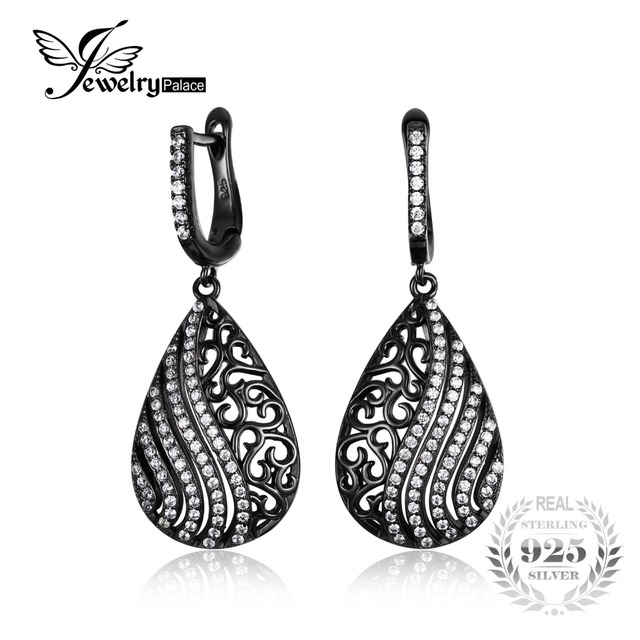 JewelryPalace Fashion Water Drop Cubic Zirconia Dangle Earrings 925 Sterling Silver 18K Black Gold Plated Fine Jewelry For Women