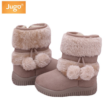 Winter Children Boots Thick Warm Shoes Girl Cotton-Padded Suede Zip Mid-Calf Snow Boots Boys Candy Color Boots Kids Winter Shoes