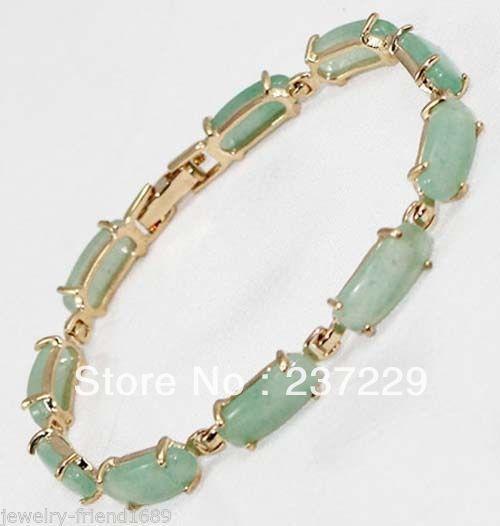 Wholesale price FREE SHIPPING  hot Beautiful Fashion Jewelry Link green stone 18KGP Bracelet