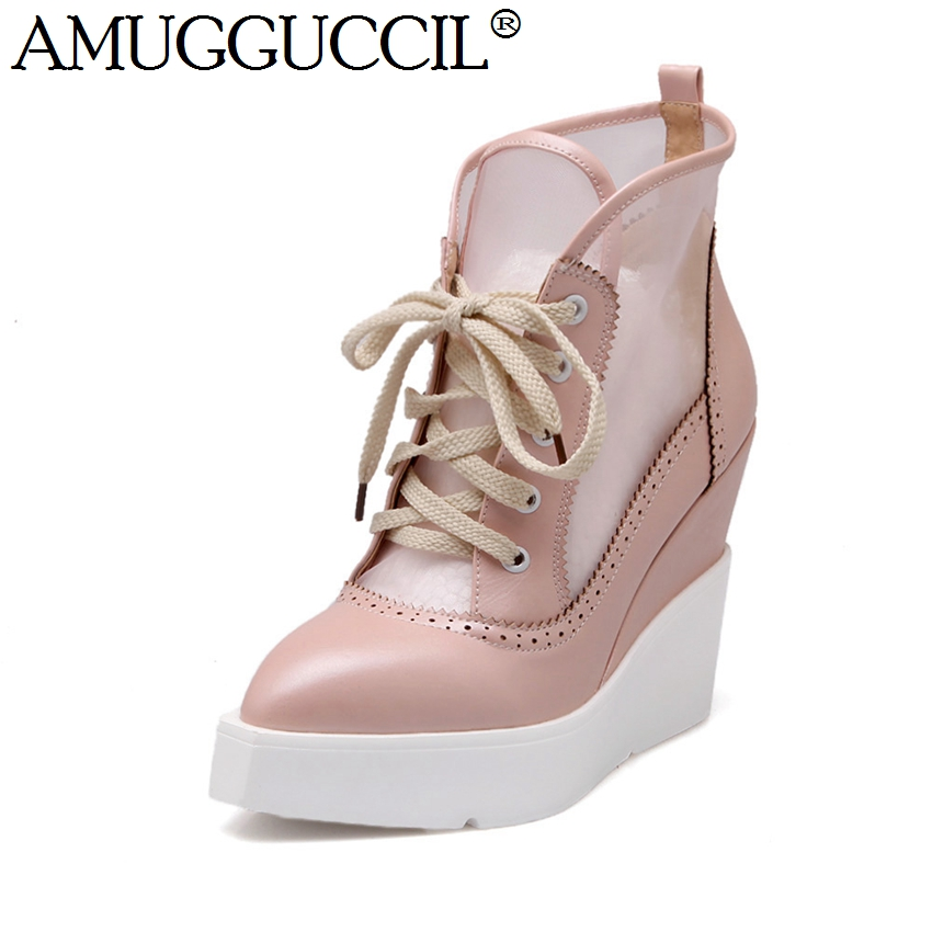2018 New Beige Black Pink Lace Up Cut-Outs Fashion High Heel Platform Wedges Spring Autumn Females Lady Shoes Women Pumps X1198 2018 new plus big size 34 42 black blue red lace up high heel platform wedges spring autumn female lady women shoes pumps d1038