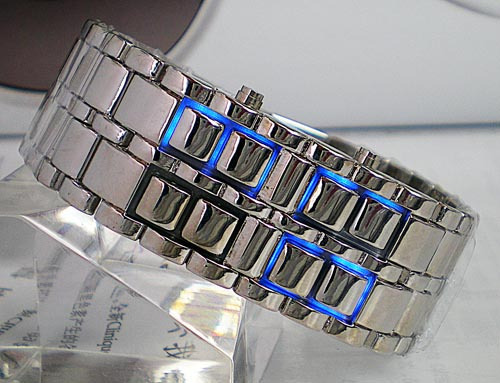 2011 fashion business casual table steel strip led watch d2127
