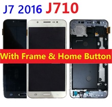 For Samsung Galaxy J7 2016 J710F J710H J710FN/DS J710M LCD Screen Display Touch Digitizer Sensor Assembly with Frame+Home Button стоимость