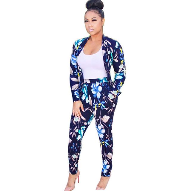 Trajes moda Mujeres Pantalón Conjunto 2017 Otoño Primavera Moda de Manga Larga solo Botón Blazer + Larga Pantalones Lápiz Mujeres 2 Unidades Set