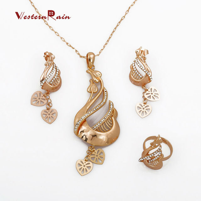 WesternRain 2017 Yellow Gold Necklace Earrings Sets Vintage