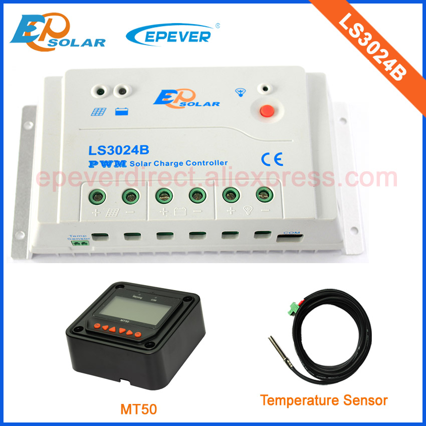 temperature sensor and black MT50 remote meter 30A 30amp LS3024B PWM solar controller with great price цены