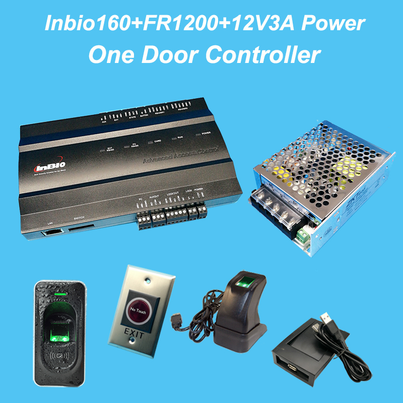 ZK inbio160 access control panel fingerprint & RFID door access control system+12V3A battery function power+FR1200+No Touch exit
