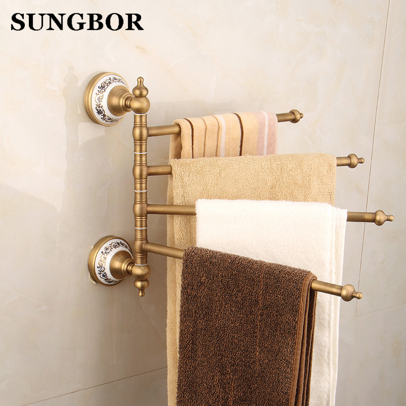 Bathroom Owel Racks 4 Tiers Bars Antique Brass Towel Holder Bath Rack Active Rails Hanger Accessories Wall Shelf FY-80315F nail free foldable antique brass bath towel rack active bathroom towel holder double towel shelf with hooks bathroom accessories