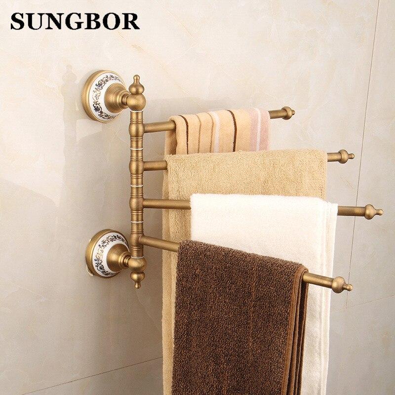 Bathroom Owel Racks 4 Tiers Bars Antique Brass Towel Holder Bath Rack Active Rails Hanger Accessories Wall Shelf FY 80315F