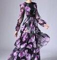 Новый 2016 осень впп женская мода с длинным рукавом шифон чешские платье каскадных оборками цветочные узоры печати платья фиолетовый