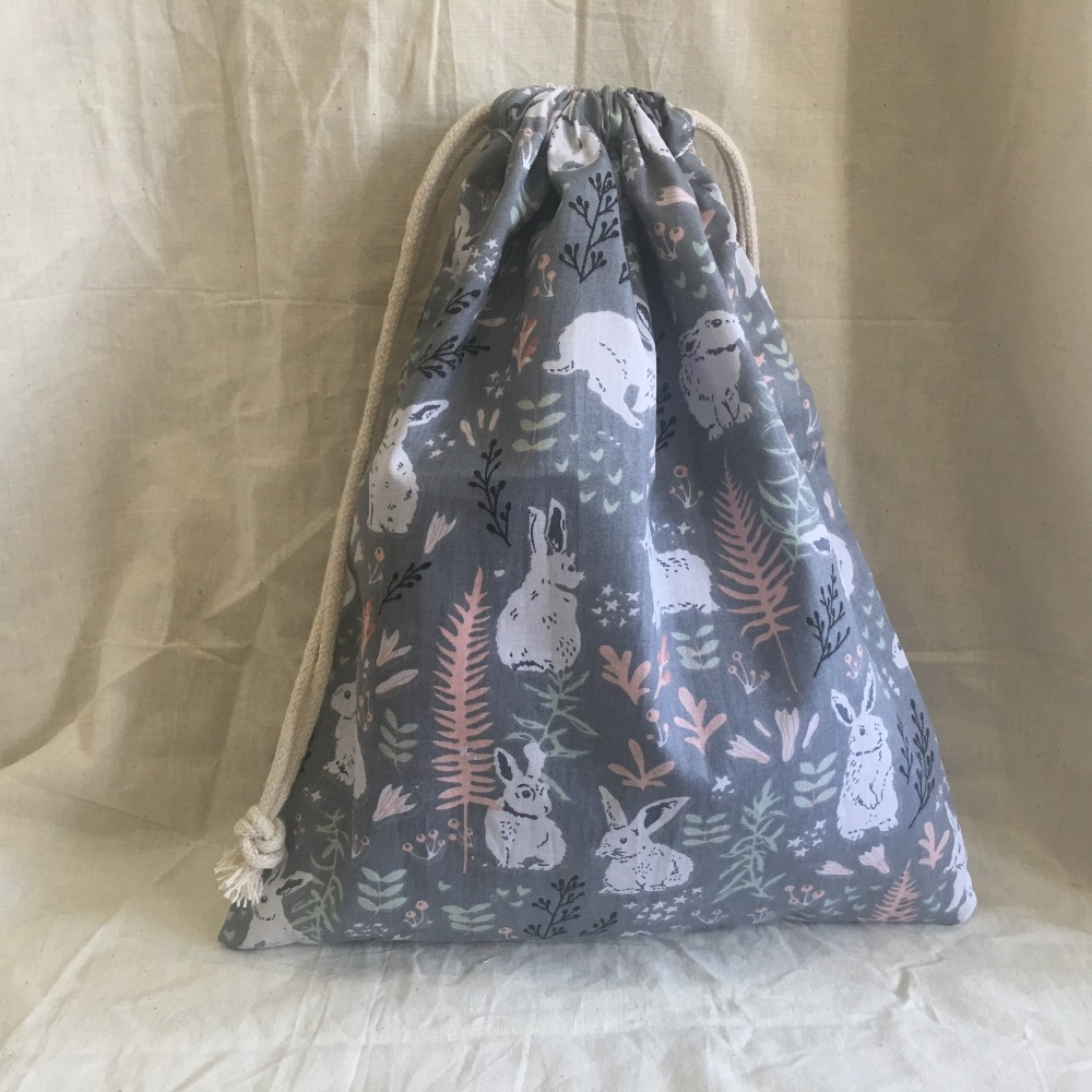 Cotton Drawstring Eco Organized Pouch Party Gift Bag Print Bunny Gray Base YL311d