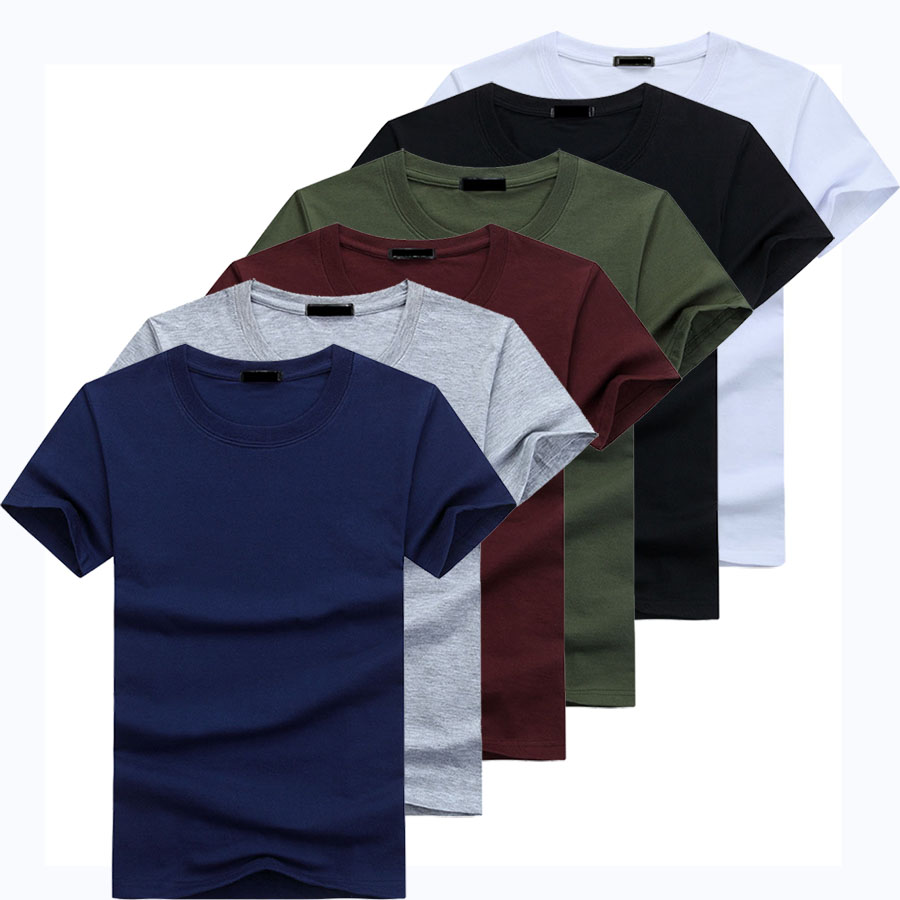 2019 6pcs/lot  High Quality Fashion Mens T Shirts Casual Short Sleeve T-shirt Mens Solid Casual Cotton Tee Shirt Summer Clothing