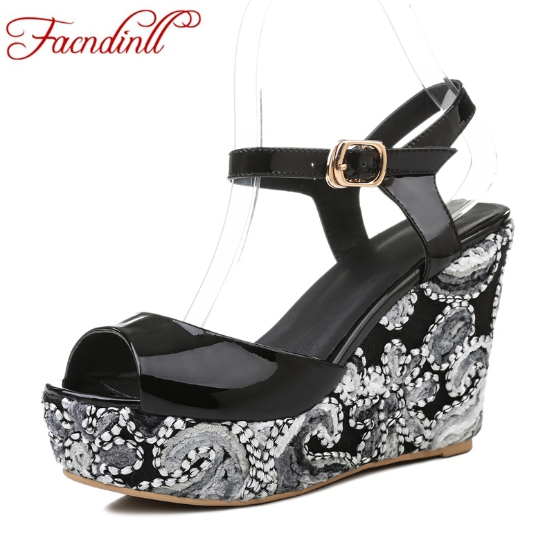 gladiator summer sandals for women new fashion genuine leather wedges high heel peep toe platform shoes woman party casual shoes 2017 summer new rivet wedges sandals creepers women high heel platform casual shoes silver women gladiator sandals zapatos mujer