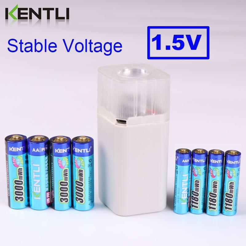 KENTLI 8 шт. 1,5 в батарейки AA AAA литий ионная литий полимерная литиевая батарея + 4 слота AA AAA литиевая батарея Li ion смарт зарядное устройство - 2