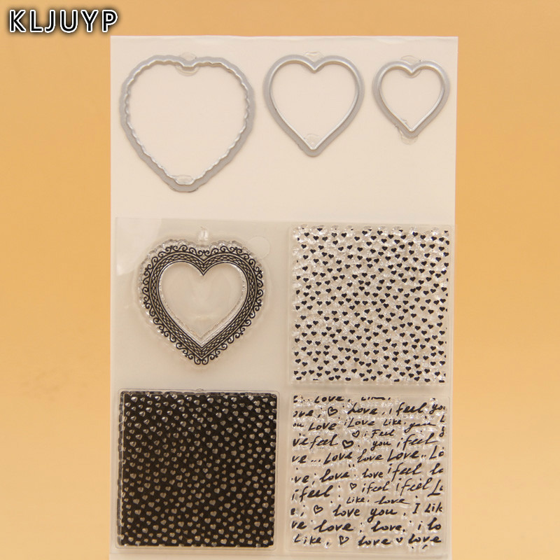 KLJUYP Heart Transparent Clear Silicone Stamp And Cutting Dies Set for DIY scrapbooking/photo album Decorative lovely animals and ballon design transparent clear silicone stamp for diy scrapbooking photo album clear stamp cl 278