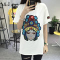 4XL 5XL Plus Size Women T-shirt 2017 Summer Fashion Peking Opera Facial Mask Sequins Embroidery Short Sleeve Loose Casual Top
