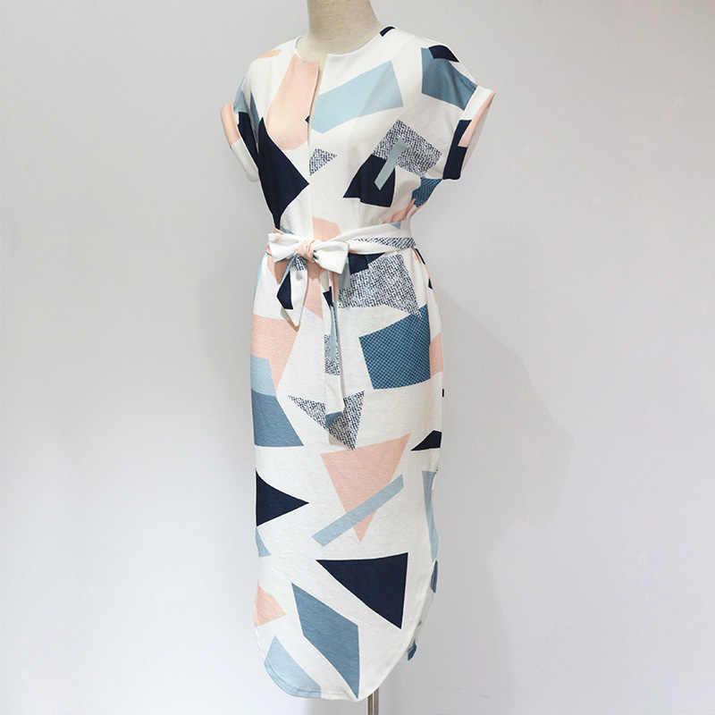 2019 robes d'été a-ligne géométrique courtes ceintures col en V robe femmes rétro robes avec ceinture plage robe grande taille Vestidos