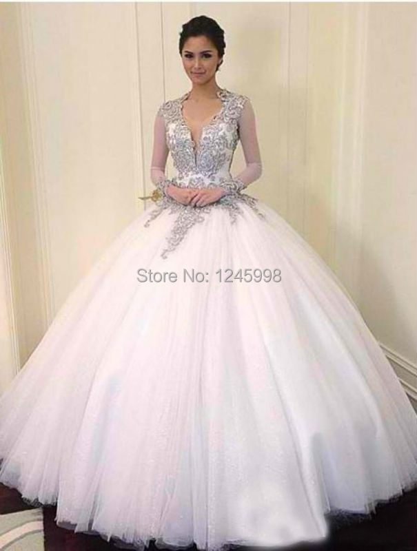 2015 New Beaded Crystal Hollywood Sheer Long Sleeves Wedding Dresses Court Train Backless Gown For Tonight Plus Size Brides In From