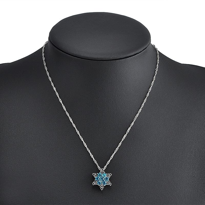 Шарм Винтаж леди Синий Кристалл Снежинка циркон цветок серебряные ожерелья и подвески украшения Рождество для женщин Бесплатная доставка