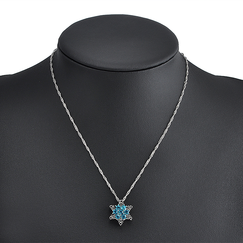 Charm Vintage Lady Blue Crystal Snowflake Zircon Flower Silver - Märkessmycken - Foto 6