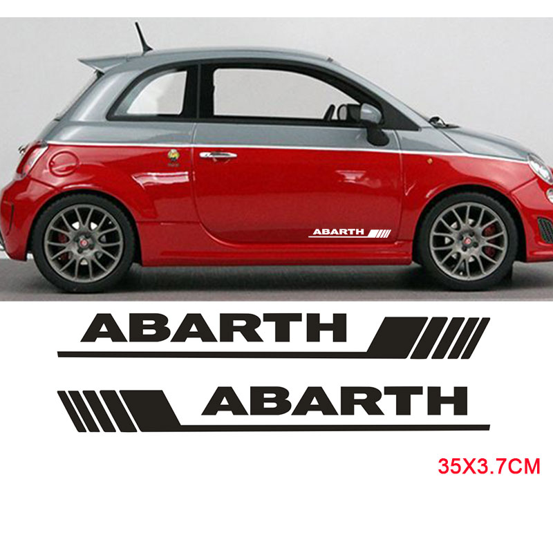 2pcs  Side Door Decals Stickers For Abarth Side Skirt Sticker Body Stickers For FIAT 500 Car Styling