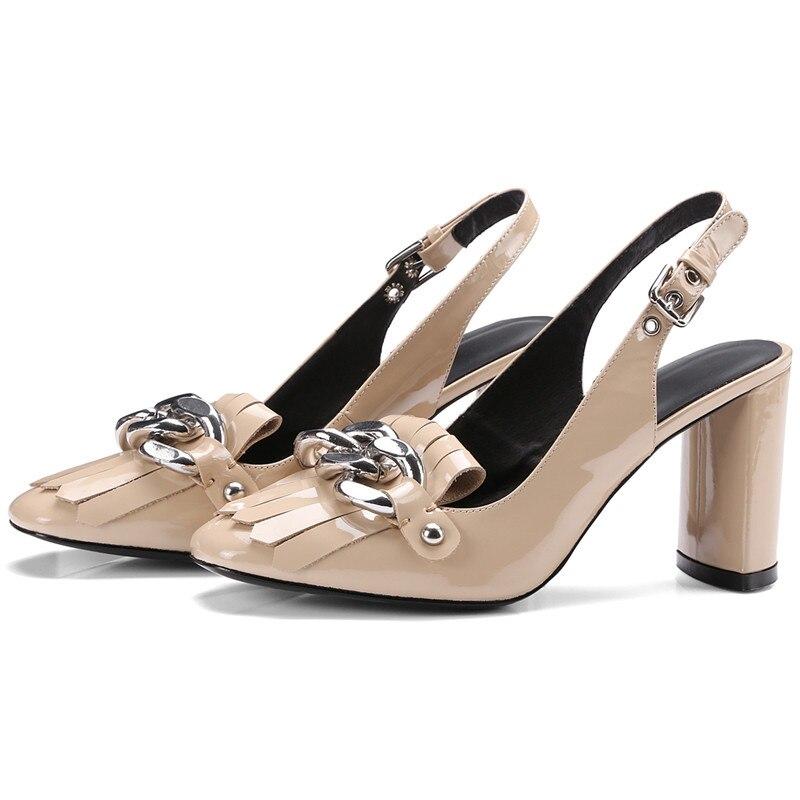Knsvvliตารางนิ้วเท้าพู่โซ่เงิน6เซนติเมตรรองเท้าส้นสูงรองเท้าหนังรองเท้าผู้หญิงสีฟ้าสีดำสิทธิบัตรหนังก้อนส้นสูงรองเท้า-ใน รองเท้าส้นสูงสตรี จาก รองเท้า บน   3
