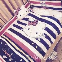 Promotion! 7pcs Cartoon Baby Bedding Set for Girls Crib,Cot Quilts Bumpers,Baby Bedding Set(bumper/duvet/sheet/pillow)