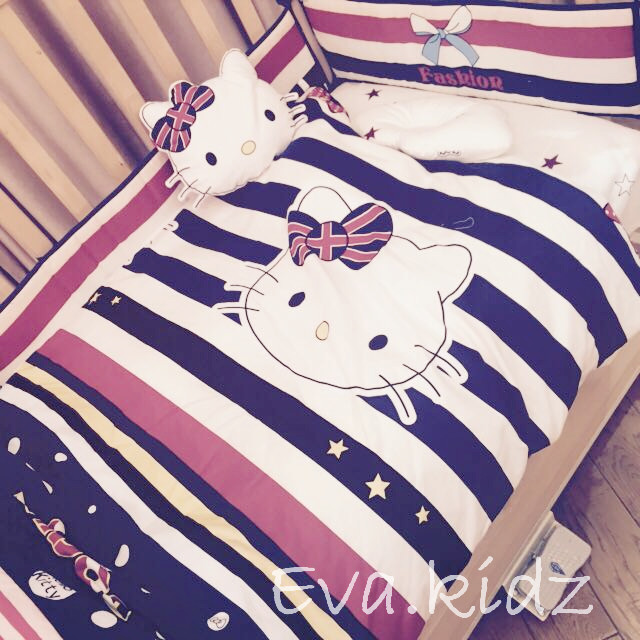 Promotion! 7pcs Cartoon Baby Bedding Set for Girls Crib,Cot Quilts Bumpers,Baby Bedding Set(bumper/duvet/sheet/pillow)