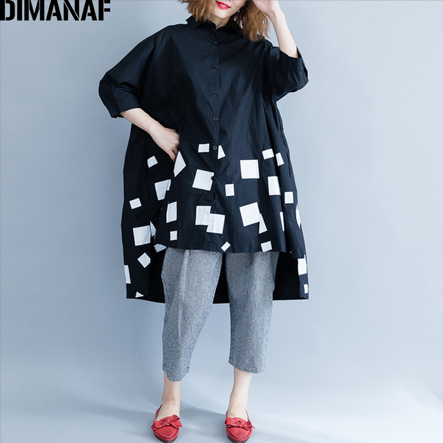 DIMANAF Women Blouse Shirts Long Sleeve Cotton Top Autumn Femme Lady Large Loose Clothing Print Spliced Pleated Plus Size Black 1