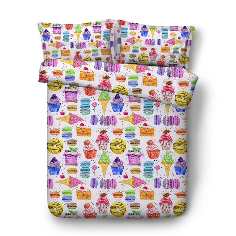 Crème glacée gâteau doux imprimé ensemble de literie double taille 3d lit couverture coloré linge de lit pour enfant chambre décor été housse de couette ensembles