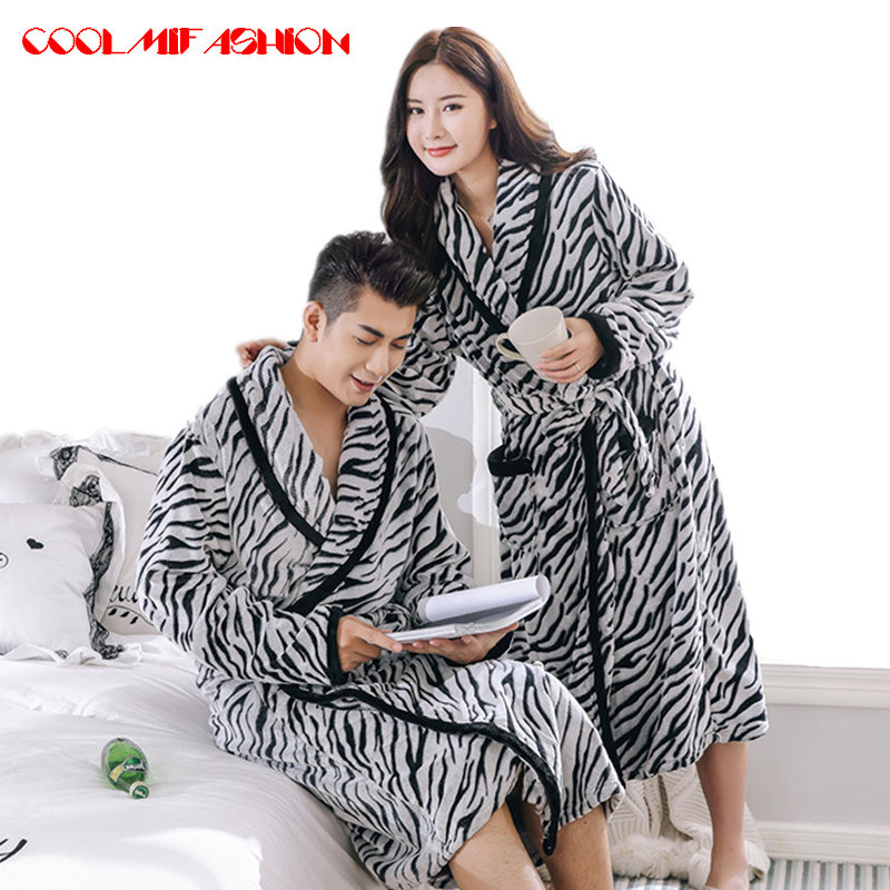 d82c55e041 Men Warm bathrobe Hot Thicken Coral Flannel Bath Robe Winter Autumn Casual  Nightgown Long Bathrobe Men Women Sleepwear Robes-in Robes from Men s  Clothing ...