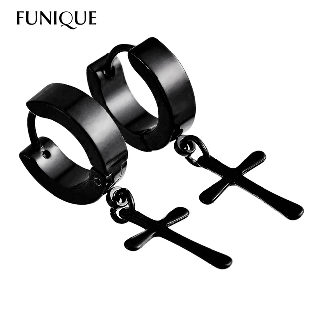 FUNIQUE Circle Round cross earrings for men Stainless Steel Pendant Stud Earrings Punk Rock Style Male Men Earrings Jewelry