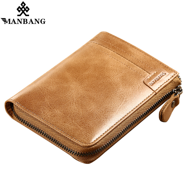 ManBang Brand Men Wallets Vintage Crazy Horse Genuine Leather Zipper Wallet Card Holder Coin Pocket Men's Purse Male Carteira joyir men crazy horse leather wallet genuine cowhide men wallets vintage men s purse card holder coin pocket wallets money purse