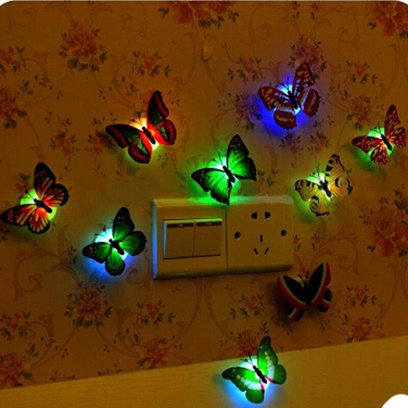 3D LED LuminescenceGlowing Night Light Butterfly Sticker Art Design Mural Home Wall Decal
