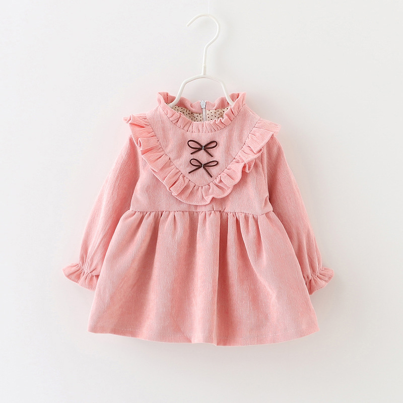 2017 Fashion Autumn Girls Dresses Long Sleeved Kids Dress Tutu Bow Ruffles Velvet Infants Dress Double