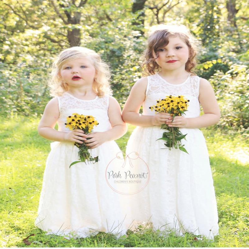 A-Line White Flower Girls Dresses For Weddings Ivory First Communion Dress Gown Sleeveless Mother Daughter Dresses For Girls