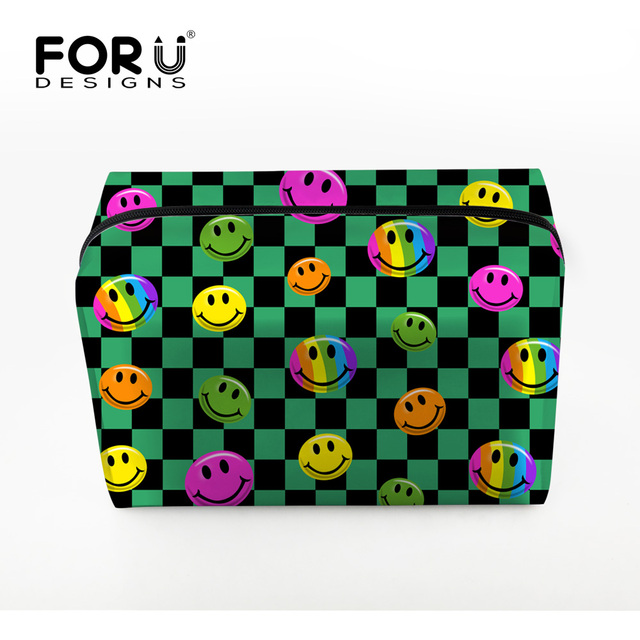 FORUDESIGNS New Women Cosmetic Bag 3D Printing Makeup Bags With Multi-color Pattern Cute Cosmetics Pouchs For Travel Girl