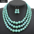 multi strand howlite bead necklace new fashion plastic resin turquoise color women collares jewelry statement necklace 6520